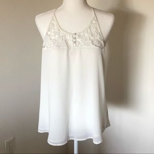 White Sheer Tank Top with Back Detailing